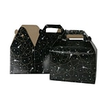 JAM Paper® Gable Gift Box with Handle, Medium, 4 x 8 x 5.25, Black Shooting Stars Design, Sold In