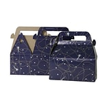 JAM Paper® Gable Gift Box with Handle, Small, 3.25 x 6 x 3, Purple Shooting Stars Design, Sold In