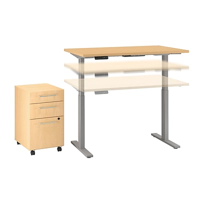 Move 60 by Bush Business Furniture 48W Height Adj Standing Desk w Storage, Natural Maple (M6S007AC)