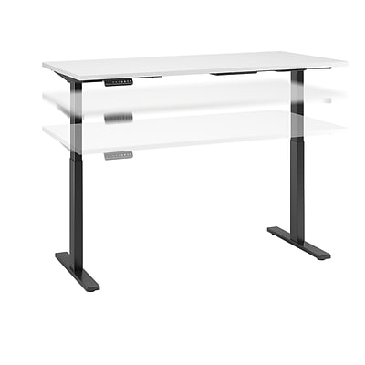 Move 60 by Bush Business Furniture 72W x 24D Height Adjustable Standing Desk, White (M6S7224WHBK)
