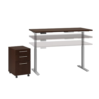Move 60 by Bush Business Furniture 60W Height Adjustable Standing Desk with Storage, Mocha Cherry, Installed (M6S008MRFA)