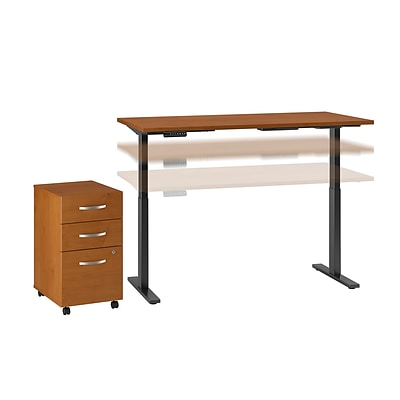 Move 60 by Bush Business Furniture 60W Height Adjustable Standing Desk with Storage, Natural Cherry, Installed (M6S005NCFA)