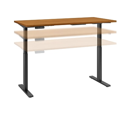 Move 60 by Bush Business Furniture 72W x 30D Height Adjustable Standing Desk, Natural Cherry, Installed (M6S7230NCBKFA)