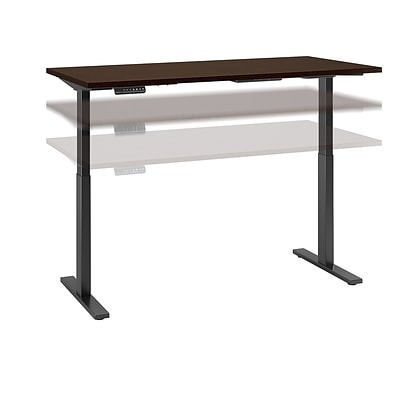 Move 60 by Bush Business Furniture 72W x 24D Height Adjustable Standing Desk, Mocha Cherry, Installed (M6S7224MRBKFA)