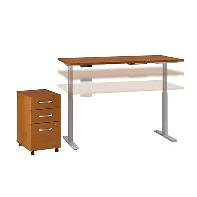 Move 60 by Bush Business Furniture 60W Height Adjustable Standing Desk with Storage, Natural Cherry, Installed (M6S008NCFA)