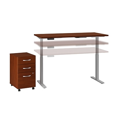 Move 60 by Bush Business Furniture 60W Height Adjustable Standing Desk with Storage, Hansen Cherry, Installed (M6S011HCFA)