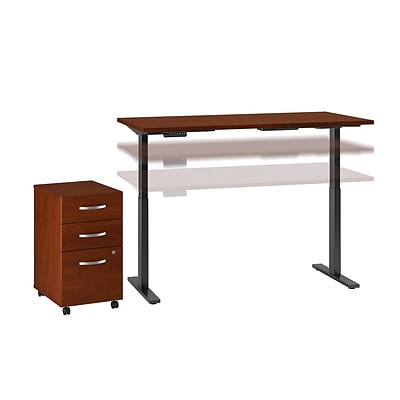Move 60 by Bush Business Furniture 72W Height Adjustable Standing Desk with Storage, Hansen Cherry, Installed (M6S006HCFA)