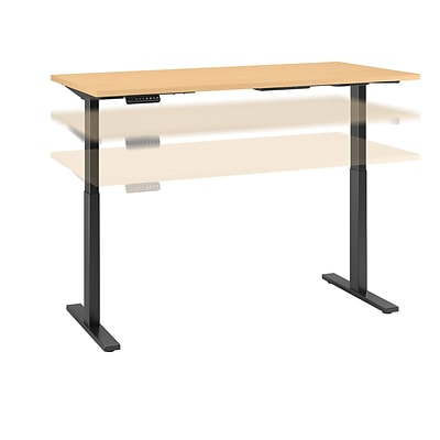 Move 60 by Bush Business Furniture 72W x 30D Height Adjustable Standing Desk, Natural Maple, Installed (M6S7230ACBKFA)