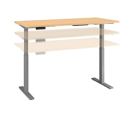 Move 60 by Bush Business Furniture 72W x 24D Height Adjustable Standing Desk, Natural Maple, Installed (M6S7224ACSKFA)