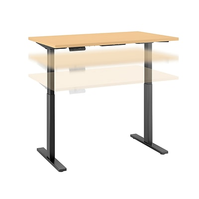 Move 60 by Bush Business Furniture 48W x 24D Height Adjustable Standing Desk, Natural Maple, Installed (M6S4824ACBKFA)