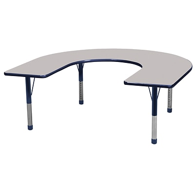 ECR4Kids Thermo-Fused Adjustable 66 x 60 Horseshoe Laminate Activity Table Grey/Navy (ELR-14203-GYNVNVCH)