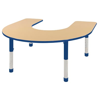 ECR4Kids Thermo-Fused Adjustable 66 x 60 Horseshoe Laminate Activity Table Maple/Blue (ELR-14203-MPBLBLCH)