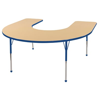 ECR4Kids Thermo-Fused Adjustable Ball 66 x 60 Horseshoe Laminate Activity Table Maple/Blue (ELR-14203-MPBLBLTB)
