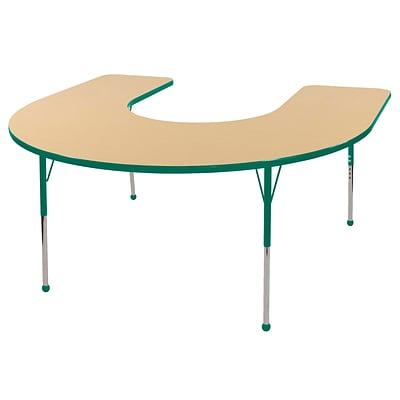 ECR4Kids Thermo-Fused Adjustable Ball 66 x 60 Horseshoe Laminate Activity Table Maple/Green (ELR-14203-MPGNGNTB)