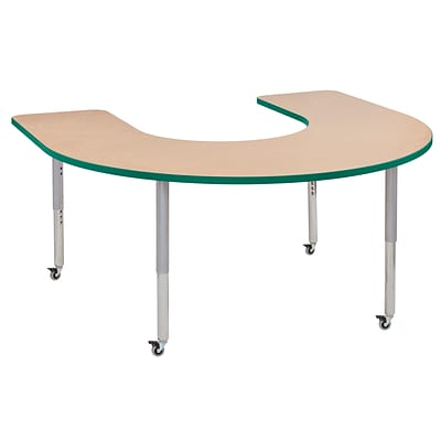 ECR4Kids Thermo-Fused Adjustable Leg 66 x 60 Horseshoe Laminate Activity Table Maple/Green/Silver (ELR-14203-MPGNSVSL)