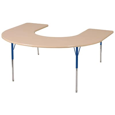 ECR4Kids Thermo-Fused Adjustable Swivel 66 x 60 Horseshoe Laminate Activity Table Maple/Maple/Blue (ELR-14203-MPMPBLTS)