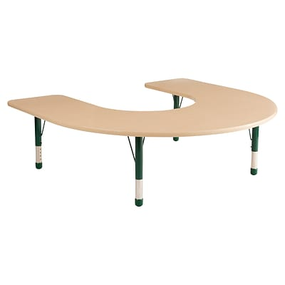 ECR4Kids Thermo-Fused Adjustable 66 x 60 Horseshoe Laminate Activity Table Maple/Maple/Green (ELR-14203-MPMPGNCH)