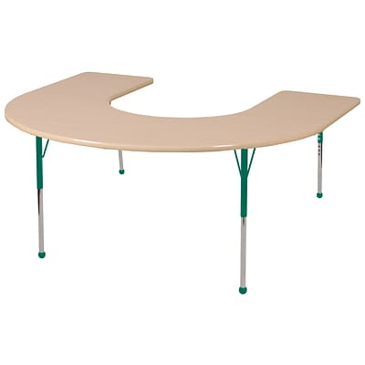 ECR4Kids Thermo-Fused Adjustable Ball 66 x 60 Horseshoe Laminate Activity Table Maple/Maple/Green (ELR-14203-MPMPGNTB)