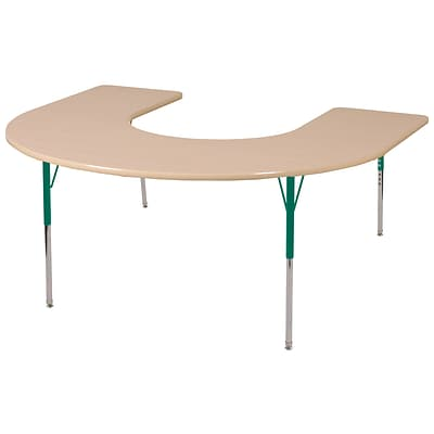 ECR4Kids Thermo-Fused Adjustable Swivel 66 x 60 Horseshoe Laminate Activity Table Maple/Maple/Green (ELR-14203-MPMPGNSS)