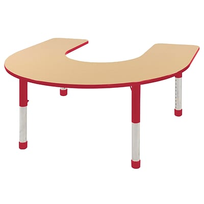 ECR4Kids Thermo-Fused Adjustable 66 x 60 Horseshoe Laminate Activity Table Maple/Red (ELR-14203-MPRDRDCH)