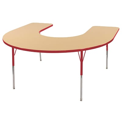 ECR4Kids Thermo-Fused Adjustable Swivel 66 x 60 Horseshoe Laminate Activity Table Maple/Red (ELR-14203-MPRDRDSS)