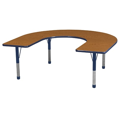 ECR4Kids Thermo-Fused Adjustable 66 x 60 Horseshoe Laminate Activity Table Oak/Navy (ELR-14203-OKNVNVCH)