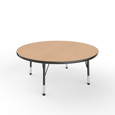 ECR4Kids Thermo-Fused Adjustable 48 Round Laminate Activity Table Maple/Maple/Black (ELR-14215-MPMPBKCH)
