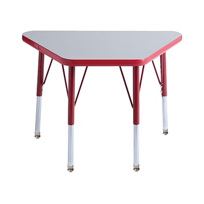 ECR4Kids Thermo-Fused Adjustable Swivel 30 x 18 Trapezoid Laminate Activity Table Grey/Red (ELR-14218-GYRDRDTS)