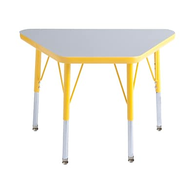 ECR4Kids Thermo-Fused Adjustable Swivel 30 x 18 Trapezoid Laminate Activity Table Grey/Yellow (ELR-14218-GYYEYESS)