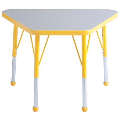 ECR4Kids Thermo-Fused Adjustable Ball 30 x 18 Trapezoid Laminate Activity Table Grey/Yellow (ELR-14218-GYYEYESB)