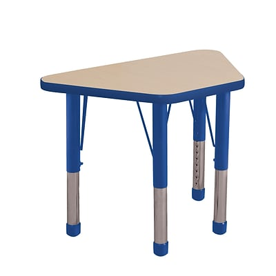 ECR4Kids Thermo-Fused Adjustable 30 x 18 Trapezoid Laminate Activity Table Maple/Blue (ELR-14218-MPBLBLCH)