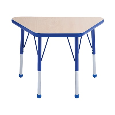 ECR4Kids Thermo-Fused Adjustable Ball 30 x 18 Trapezoid Laminate Activity Table Maple/Blue (ELR-14218-MPBLBLTB)