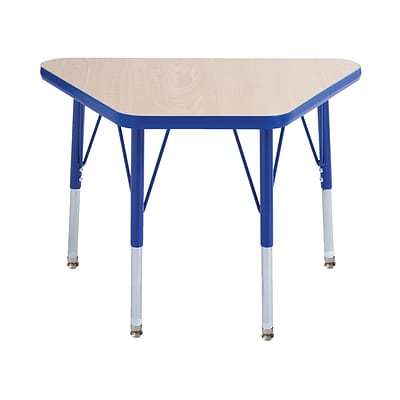 ECR4Kids Thermo-Fused Adjustable Swivel 30 x 18 Trapezoid Laminate Activity Table Maple/Blue (ELR-14218-MPBLBLSS)