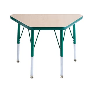 ECR4Kids Thermo-Fused Adjustable Swivel 30 x 18 Trapezoid Laminate Activity Table Maple/Green (ELR