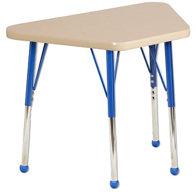 ECR4Kids Thermo-Fused Adjustable Ball 30 x 18 Trapezoid Laminate Activity Table Maple/Maple/Blue (ELR-14218-MPMPBLTB)