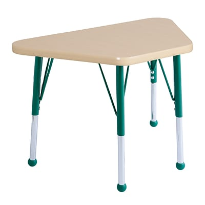 ECR4Kids Thermo-Fused Adjustable Ball 30 x 18 Trapezoid Laminate Activity Table Maple/Maple/Green (ELR-14218-MPMPGNSB)