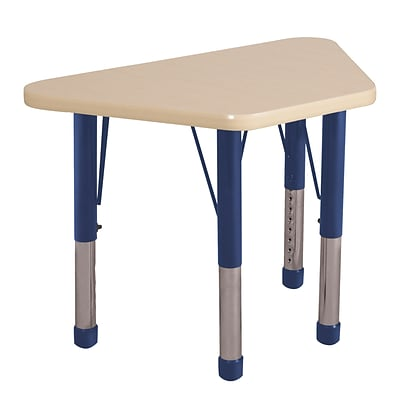 ECR4Kids Thermo-Fused Adjustable 30 x 18 Trapezoid Laminate Activity Table Maple/Maple/Navy (ELR-14218-MPMPNVCH)