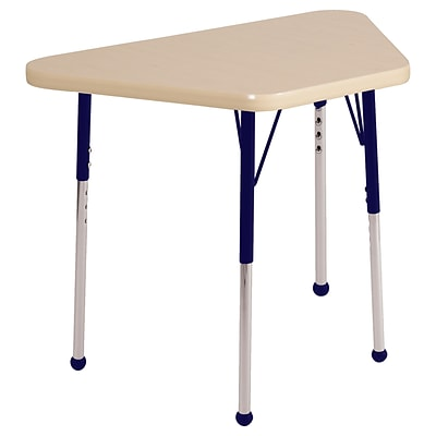 ECR4Kids Thermo-Fused Adjustable Ball 30 x 18 Trapezoid Laminate Activity Table Maple/Maple/Navy (ELR-14218-MPMPNVSB)
