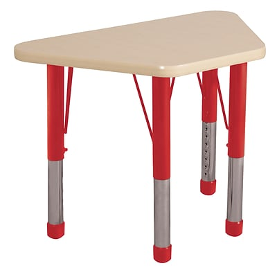 ECR4Kids Thermo-Fused Adjustable 30 x 18 Trapezoid Laminate Activity Table Maple/Maple/Red (ELR-14218-MPMPRDCH)