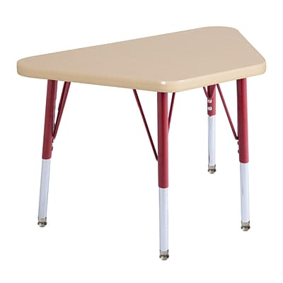 ECR4Kids Thermo-Fused Adjustable Swivel 30 x 18 Trapezoid Laminate Activity Table Maple/Maple/Red (ELR-14218-MPMPRDSS)