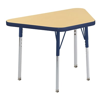 ECR4Kids Thermo-Fused Adjustable Swivel 30 x 18 Trapezoid Laminate Activity Table Maple/Navy (ELR-14218-MPNVNVSS)