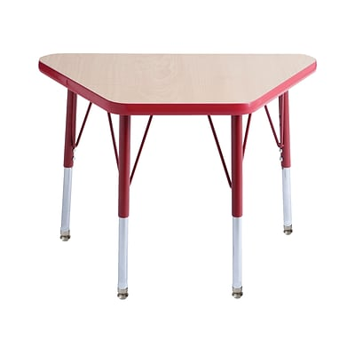 ECR4Kids Thermo-Fused Adjustable Swivel 30 x 18 Trapezoid Laminate Activity Table Maple/Red (ELR-14218-MPRDRDSS)