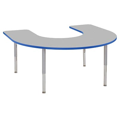 ECR4Kids Thermo-Fused Adjustable Leg 66 x 60 Horseshoe Laminate Activity Table Grey/Blue/Silver (ELR-14203-GYBLSVSL)