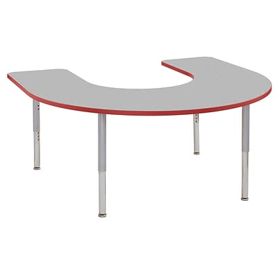ECR4Kids Thermo-Fused Adjustable Leg 66 x 60 Horseshoe Laminate Activity Table Grey/Red/Silver (ELR-14203-GYRDSVSL)