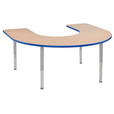ECR4Kids Thermo-Fused Adjustable Leg 66 x 60 Horseshoe Laminate Activity Table Maple/Blue/Silver (ELR-14203-MPBLSVSL)