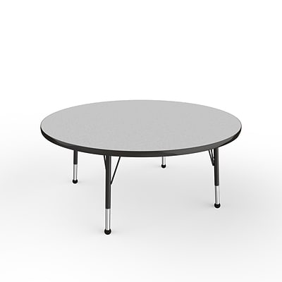 ECR4Kids Thermo-Fused Adjustable Ball 48 Round Laminate Activity Table Grey/Black (ELR-14215-GYBKBKTB)