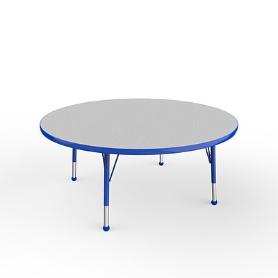 ECR4Kids Thermo-Fused Adjustable Ball 48 Round Laminate Activity Table Grey/Blue (ELR-14215-GYBLBLTB)