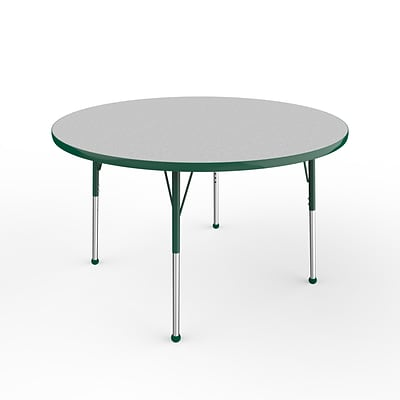 ECR4Kids Thermo-Fused Adjustable Ball 48 Round Laminate Activity Table Grey/Green (ELR-14215-GYGNGNSB)