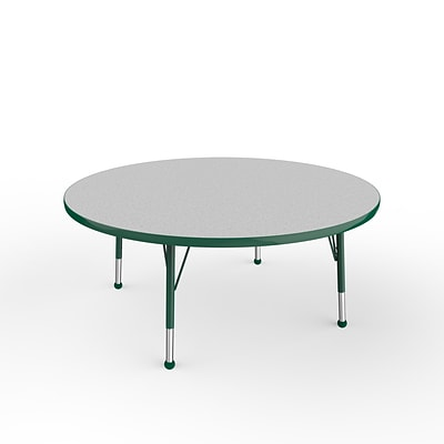 ECR4Kids Thermo-Fused Adjustable Ball 48 Round Laminate Activity Table Grey/Green (ELR-14215-GYGNGNTB)