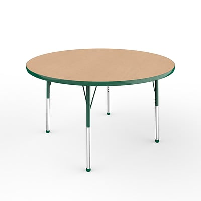ECR4Kids Thermo-Fused Adjustable Ball 48 Round Laminate Activity Table Maple/Green (ELR-14215-MPGNGNSB)